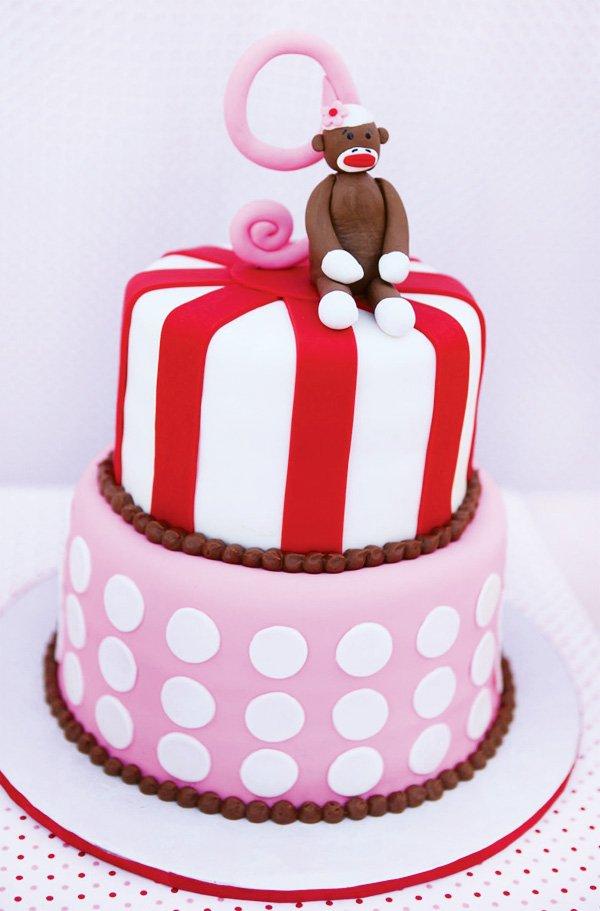pink sock monkey cake