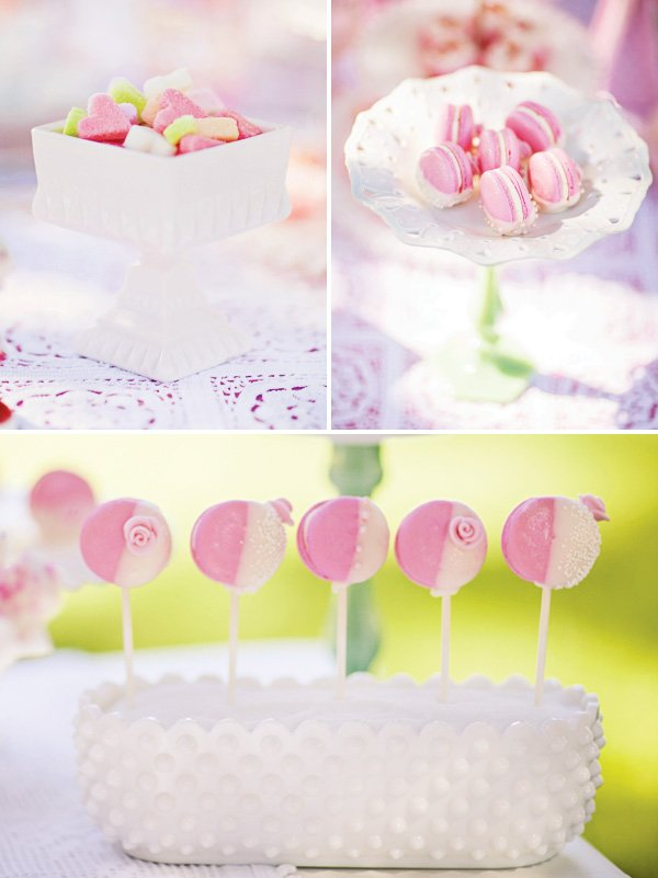 pink tea party sweets