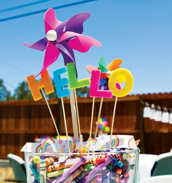pinwheel party centerpiece