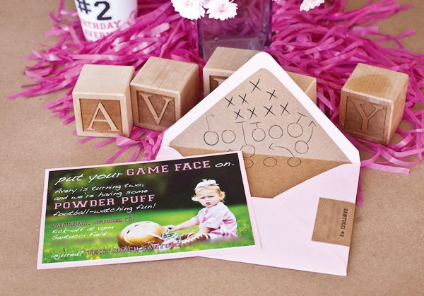 pink powder puff football party invitation