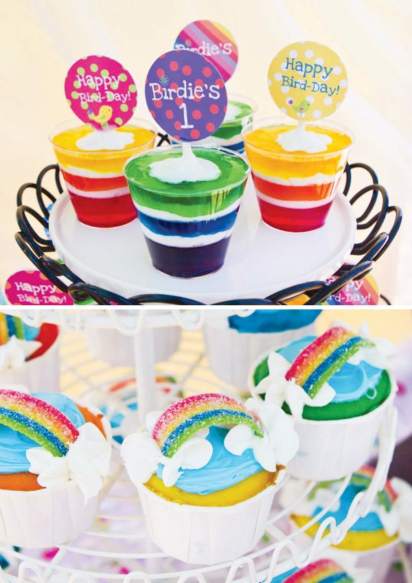 rainbow bird desserts