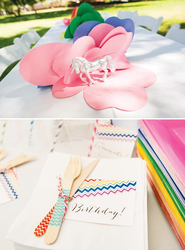rainbow birthday party chevron utensils