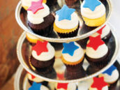 red and blue star cupcakes