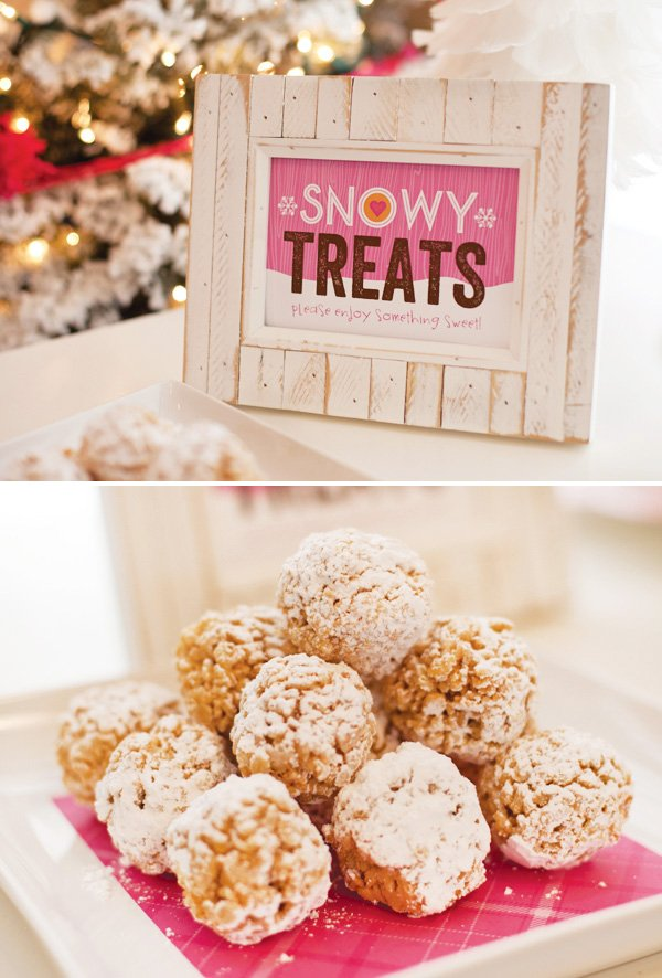 rice krispie snow balls covered in powdered sugar