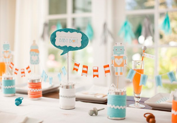 robot baby shower from hwtm