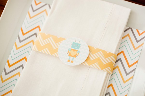 robot baby shower printable napkin ring