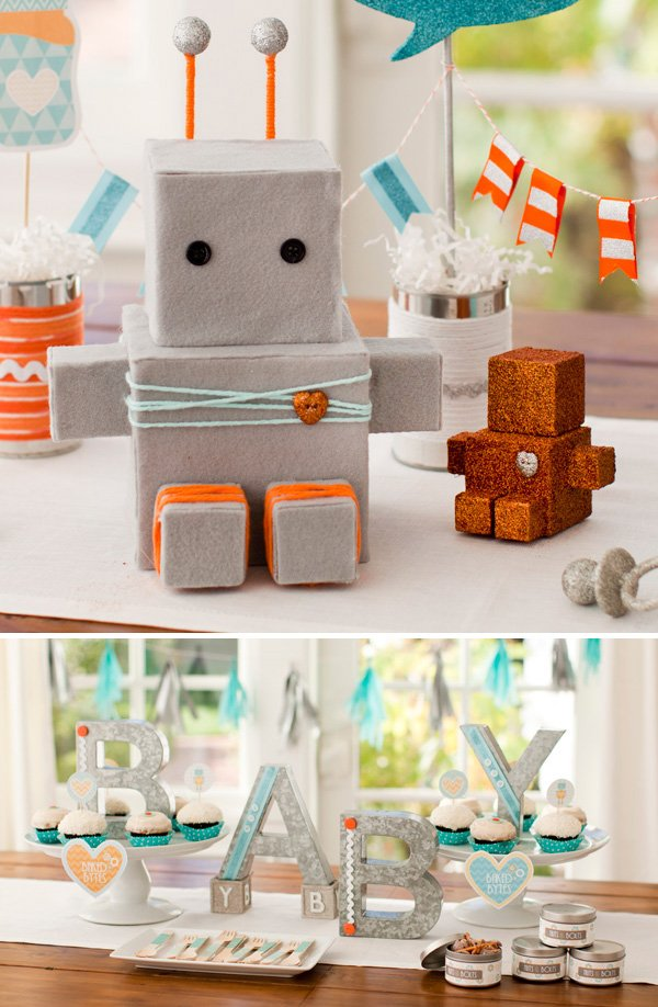 robot baby shower centerpiece idea
