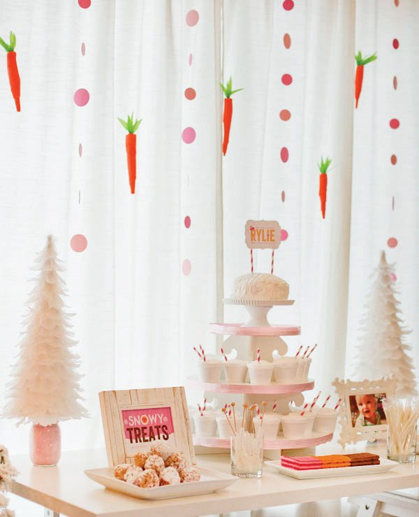 snow bunny dessert table with snowy desserts and white feather trees