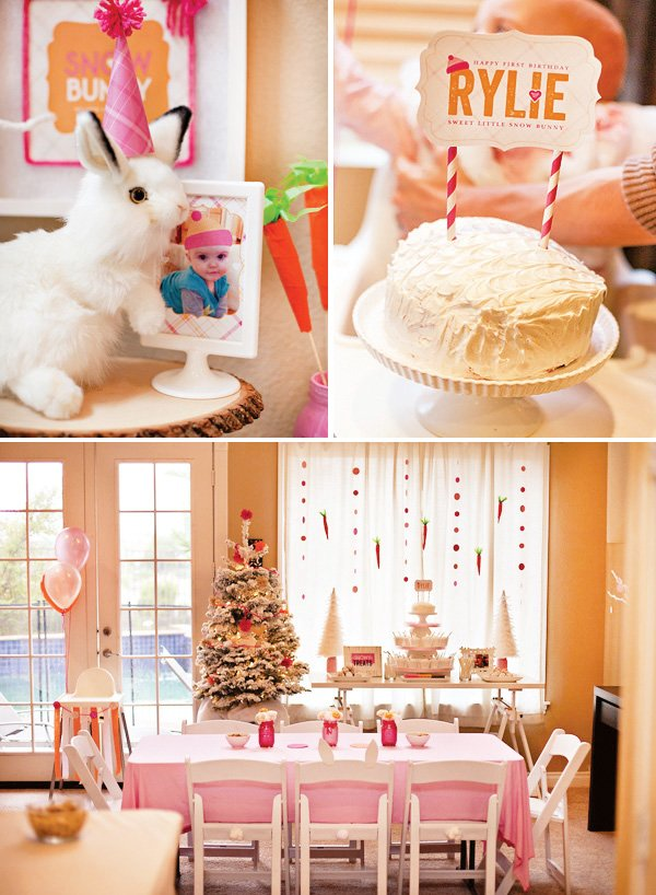 snow buny first birthday party decorations, smash cake, and printables