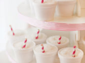 snow cone cupcakes with pink stripe straws