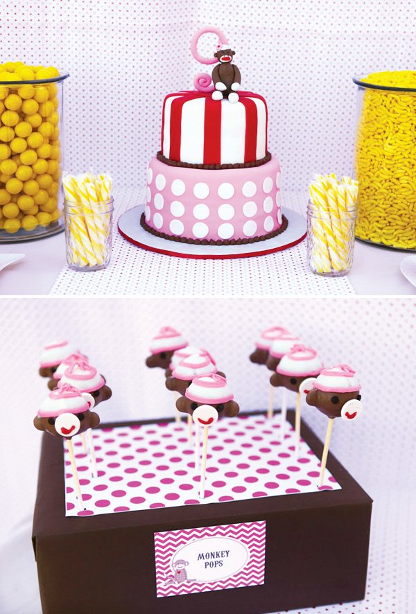 Cool Girly Sock Monkey Themed Birthday Party Hostess With The Mostess Personalised Birthday Cards Xaembasilily Jamesorg