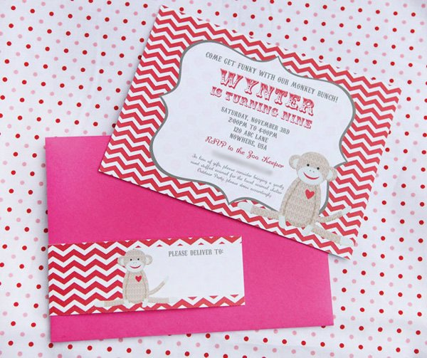 sock monkey party invitation