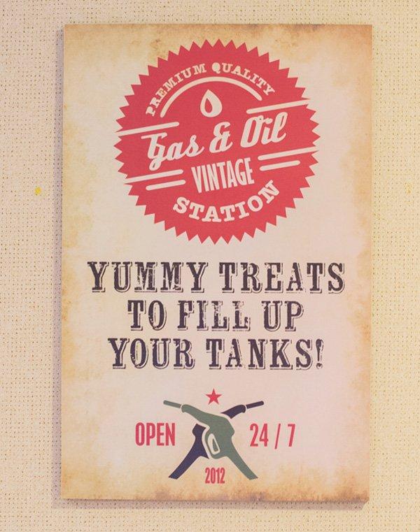 vintage car sign for a dessert table