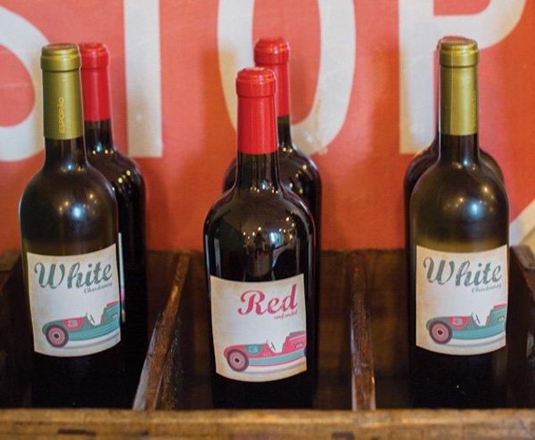 vintage car wine labels