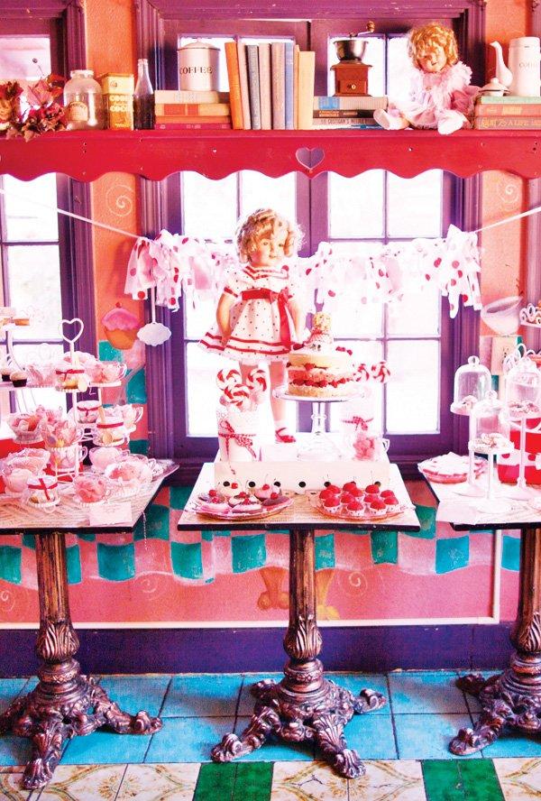 vintage shirley temple dessert table