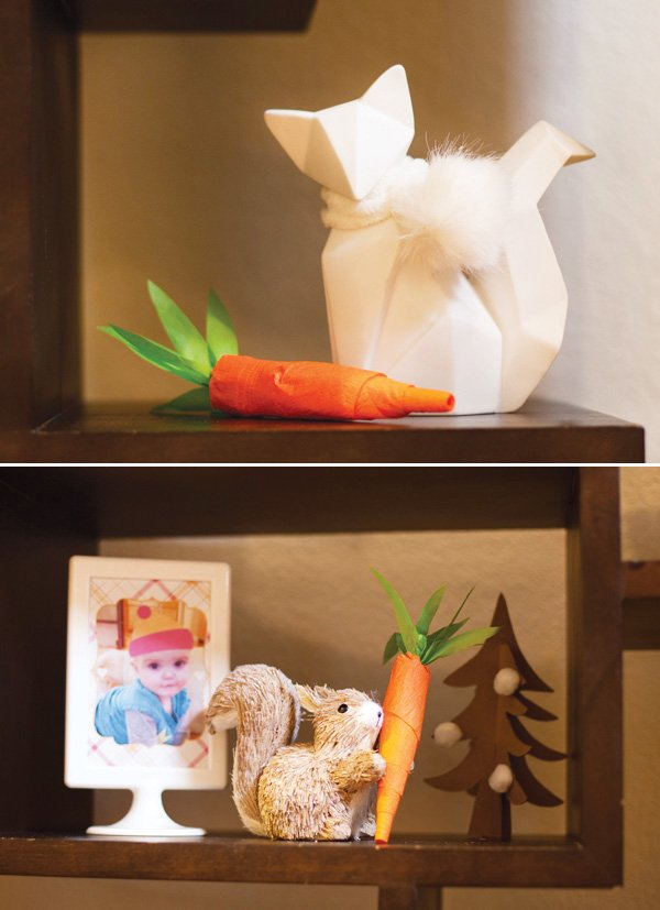 winter woodland creatures with crepe paper carrots