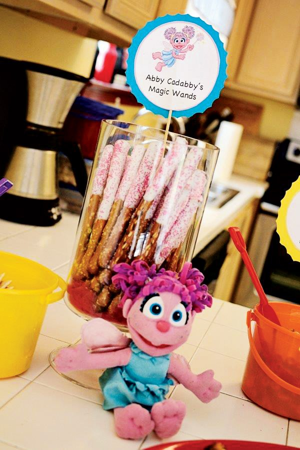abby cadabby's magic wand dripped pretzels with sprinkles