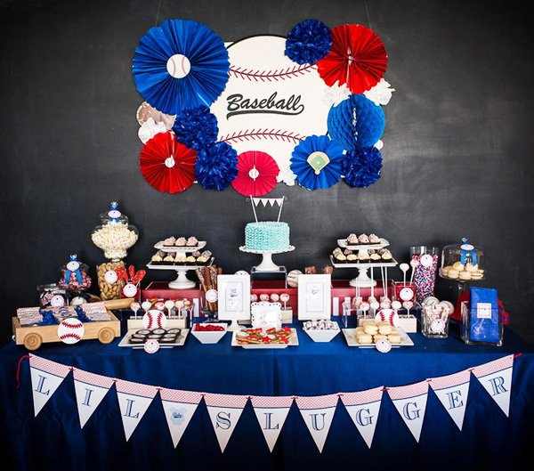 blue and red baseball baby shower