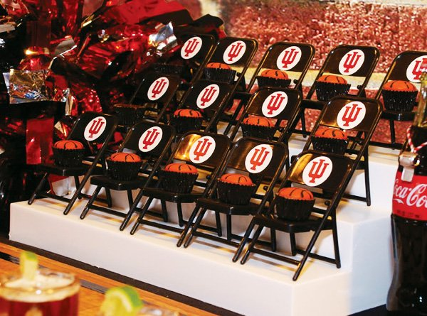 basketball chairs with court side desserts