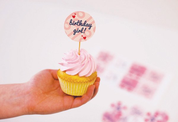 birthday girl cupcake topper