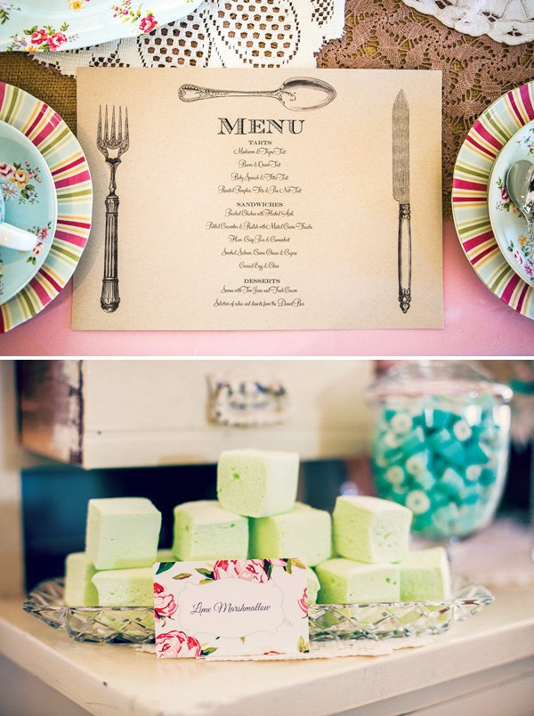 bridal shower menu