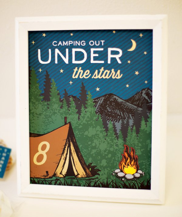 camping party sign