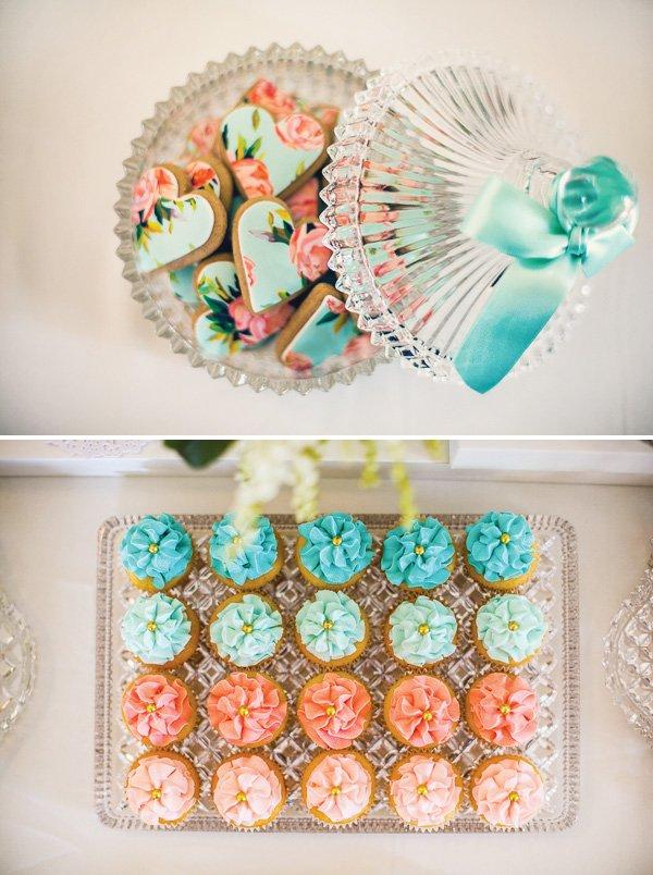 floral heart cookies for a vintage high tea bridal shower
