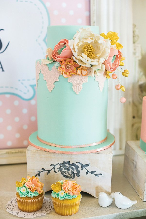 gorgeous teal cake bridal shower menu vintage high tea bridal shower