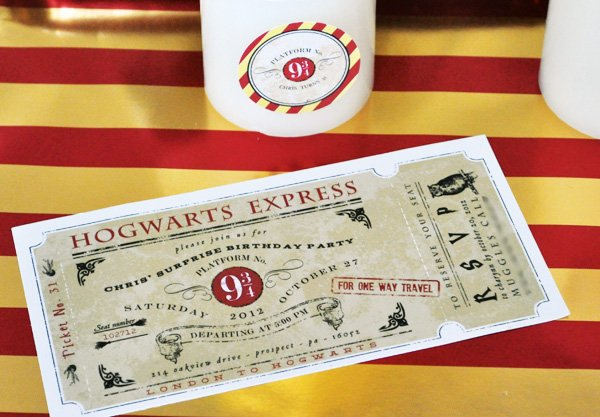 hogwarts express ticket party invitation