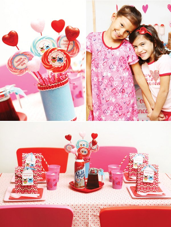 kids valentine breakfast table