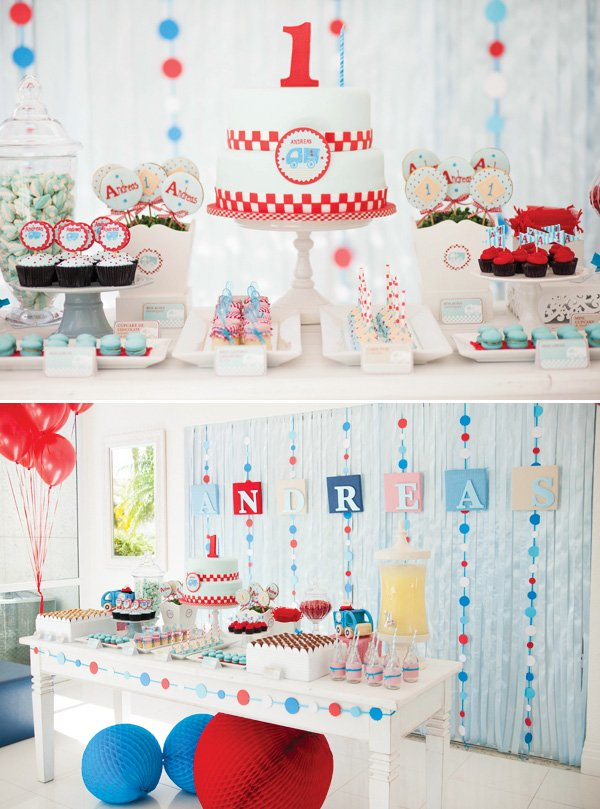little blue truck dessert table
