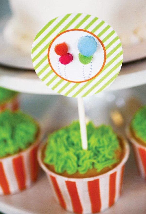 lorax themed truffula tree cupcake toppers