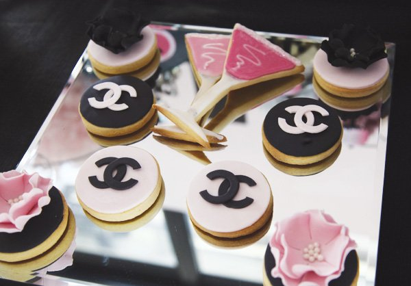 chanel and martini glass cookies