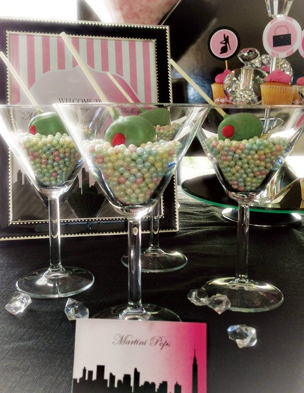 "Martini glasses with chocolate ""olive"" cake pops"