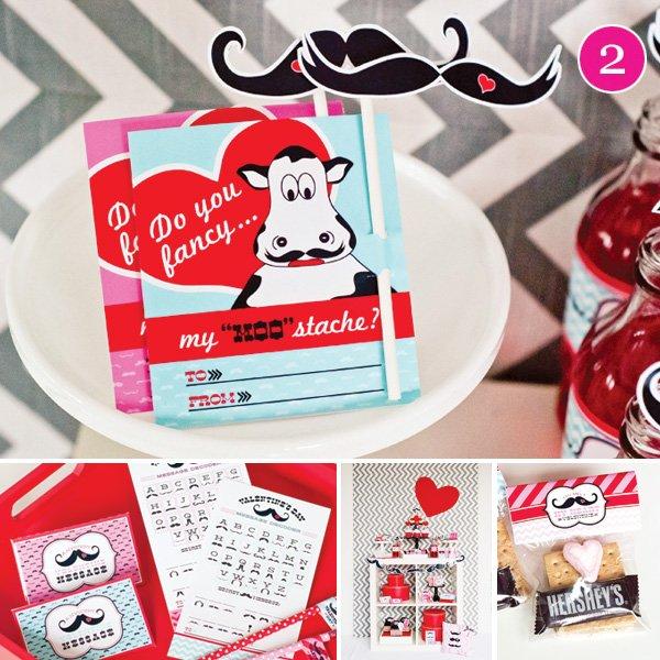 mustache valentine printables