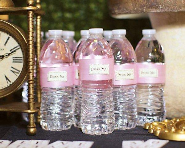 "Pink ""Drink Me"" Water Bottles"