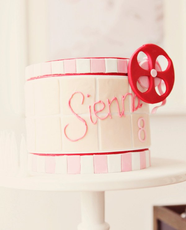 Pink and red film reel cake