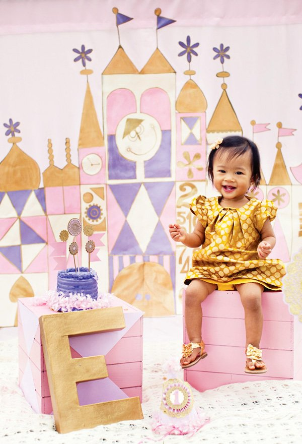 pink and purple and gold first birthday party