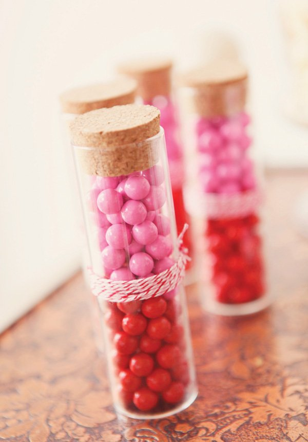 Pink and red candy tubes