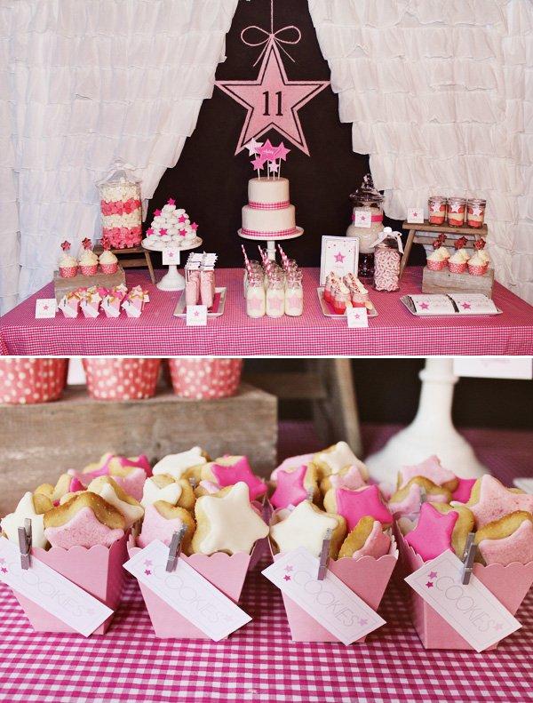 pink star dessert table