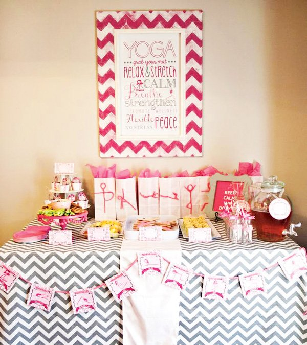 pink yoga food table