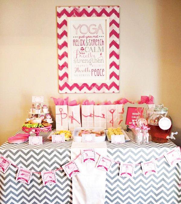 pink yoga food table