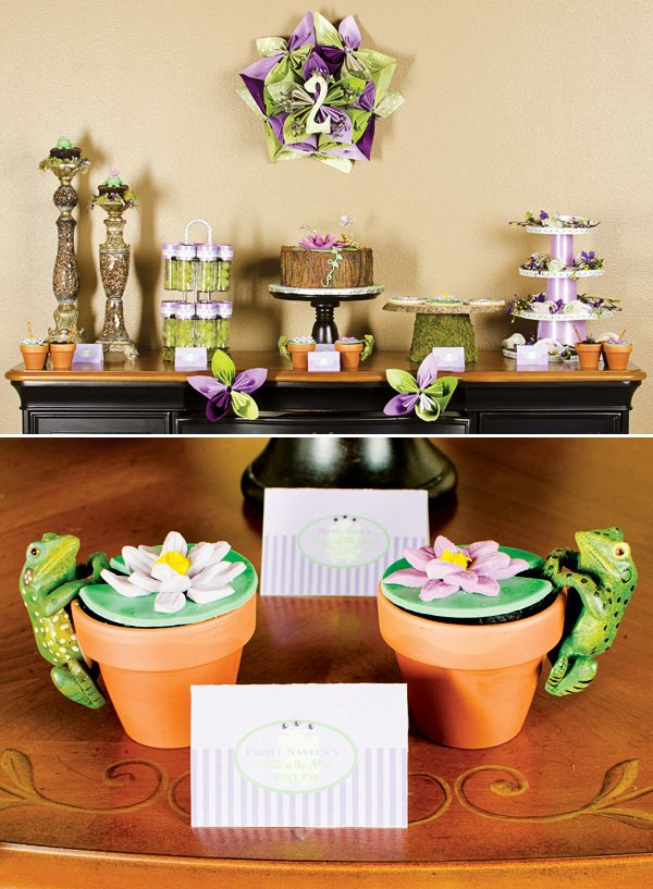 lily pad and flower desserts