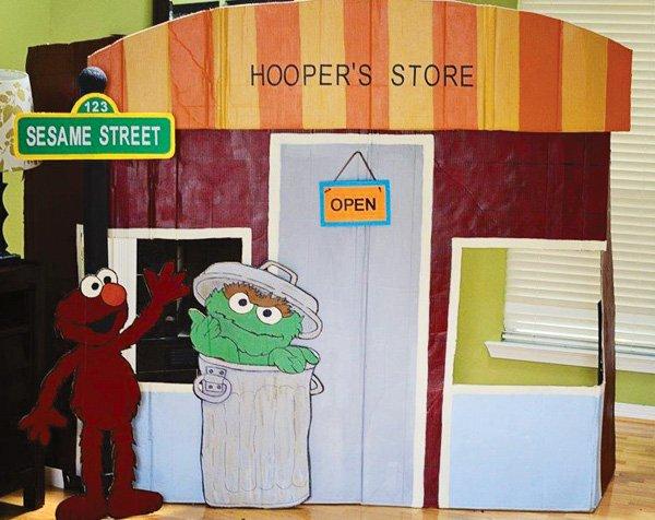 sesame street cardboard store