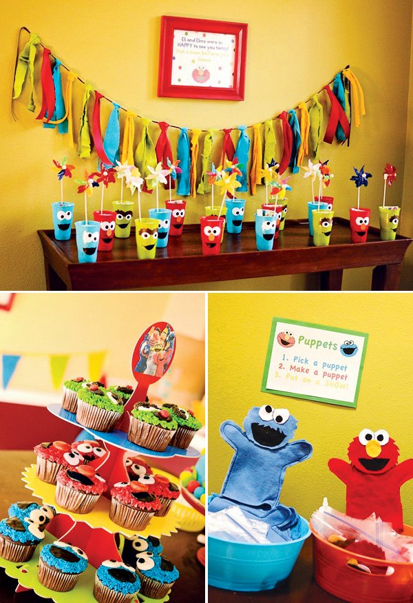 Colorful DIY Sesame Street Birthday Party Hostess with the Mostess