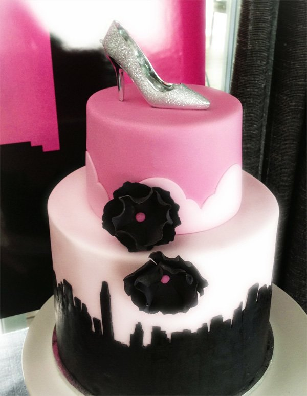 city skyline pink birthday cake
