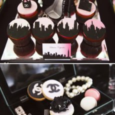 pink and black skyline cupcakes