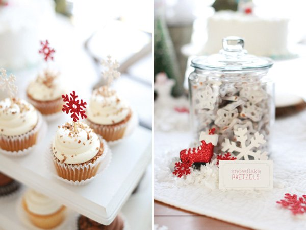 snowflake pretzels and cupcake toppers