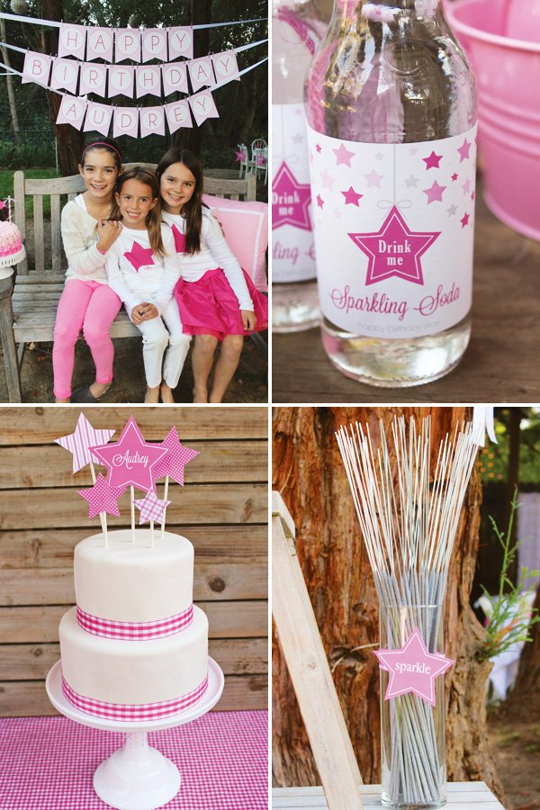 sparkly pink star party