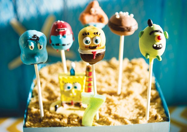 spongebob and patrick cake pops
